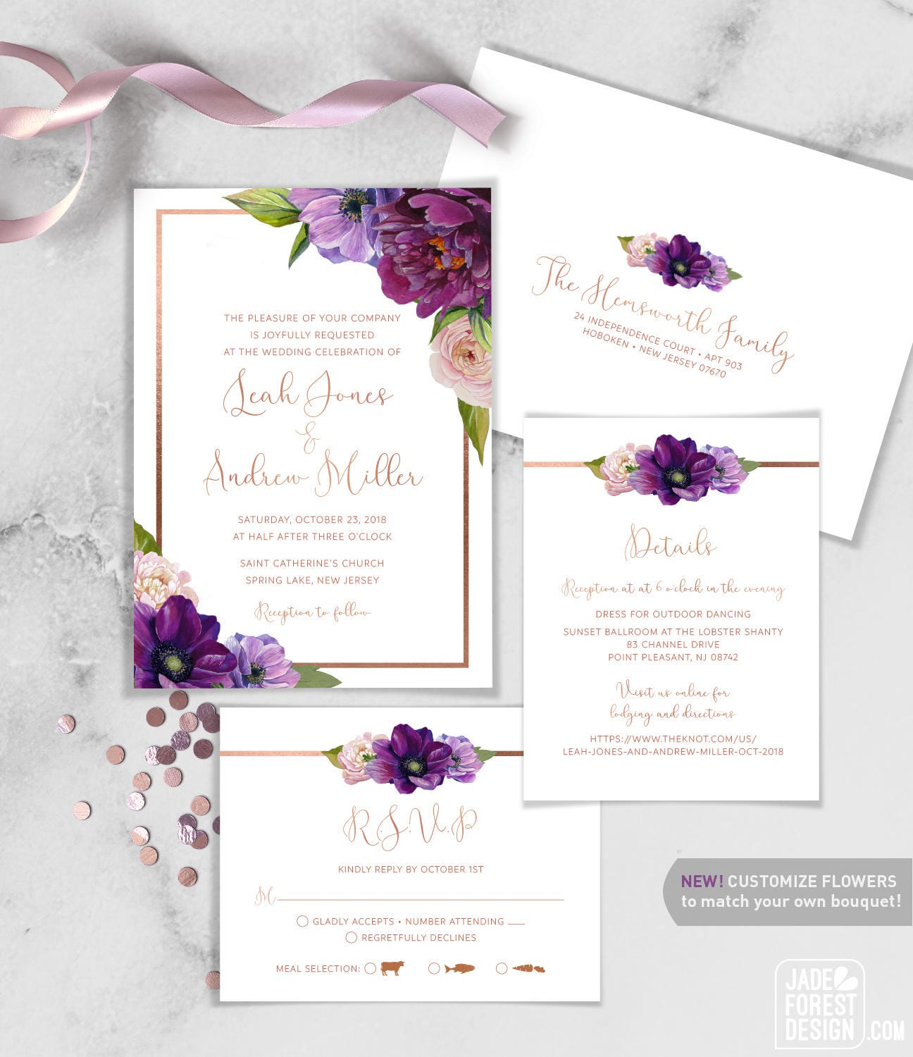 Purple Wedding Invitation Set Purple Flowers Anemone Peony