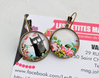 asymmetrical cat bird and flower cabochon earrings