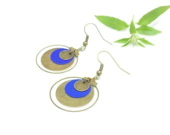 Vintage earrings ~ blue hoop earrings ~