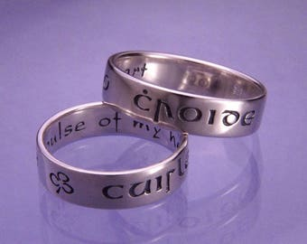 Gaelic Pulse of My Heart Sterling Silver Poesy Ring