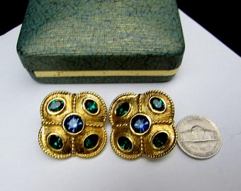 napier glass vintage earrings pierced | 80s goldtone blue green glass cabochons | large 1980s gold tone signed designer costume jewelry