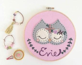 """Custom 9"""" Flower Owl Embroidery Hoop.  Nursery Baby Girl Wall Hanging"""