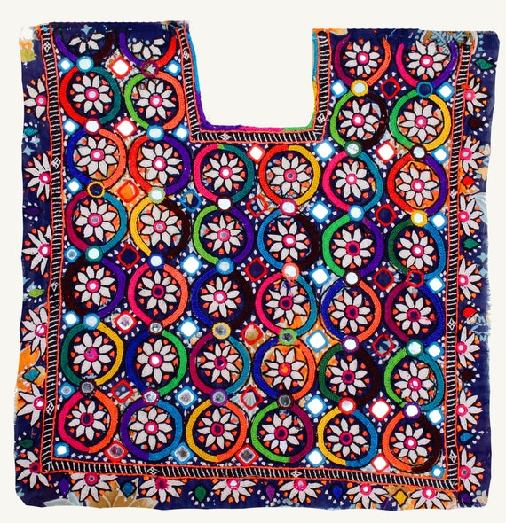 Vintage banjara colourful flower embroidered fabric patch neck