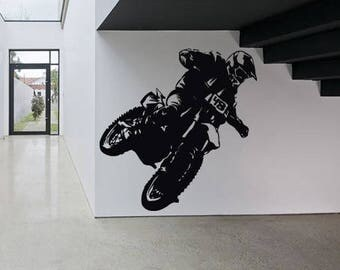 Wall Sticker Decal Motorcycle Dirt Bike Sport Motocross Chopper Ride Children Guys Boys Bedroom 1605b