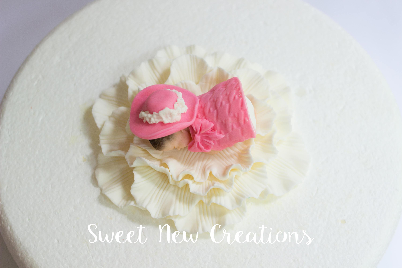 Baby Shower Cake Topper Girl 2pcs Dress Up Baby On Flower Fondant Cake  Topper Edible Pink