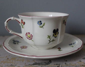 Vintage Villeroy & Boch Germany PETITE FLEUR Cup and Saucer Vitro Porcelain - Set of 3