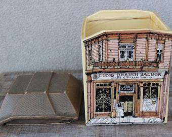 Vintage Old West Main Street Cookie Jar Long Branch Saloon Enesco 1980 Japan