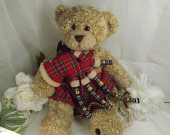 Large Tartan Teddy with Kilt, and Bagpipes Vintage Scottish ( 15 inches tall)
