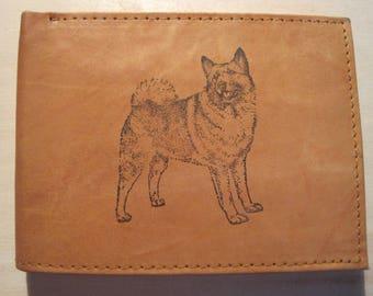 "Mankind Wallets Men's Leather RFID Blocking Billfold w/ ""Norwegian Elkhound Dog Lover"" Image~Makes a Great Gift!"