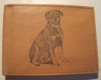 "Mankind Wallets Men's Leather RFID Blocking Billfold w/ ""Rottweiler Dog Lover"" Image~Makes a Great Gift!"