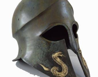 Helmet Snake carved solid bronze Ancient Greek part polished great helmet