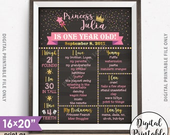 "First Birthday Princess Poster, Princess Birthday Pink & Gold Glitter Birthday Stats 1st B-day Milestones, 16x20"" Chalkboard Style Printable"