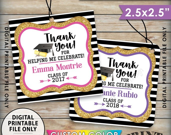 "Graduation Tags, Graduation Party Favors Thank You Tags, Gold Glitter Grad Tags, Graduation Party Favors, 8.5x11"" Sheet, 2.5"" Printable Tags"