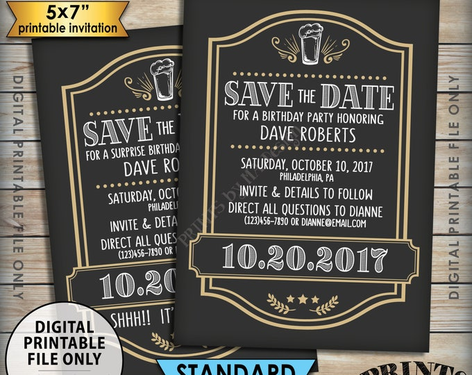 """Cheers and Beers Birthday Inviation Save the Date Gold Birthday, Beer Birthday, Beer Themed Party, PRINTABLE 5x7"""" Save the Date"""
