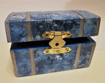 Jewelry / Trinket Treasure Chest Box Faux Blue Series