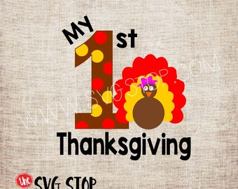 My 1st Thanksgiving Turkey Bow SVG, DXF, PNG, Jpg, Eps Cuttable and Printable Clipart Designs for Silhouette, Cricut, Sublimation Printing