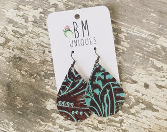 Turquoise & Chocolate Brown - Tooled Leather - Earrings - Cowhide Leather - Leather Earrings - Teardrop Earrings