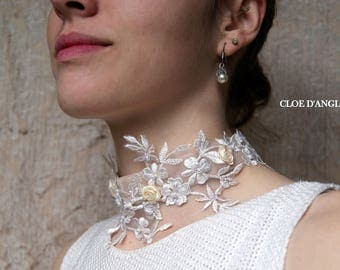 Ecru Choker / necklace wedding / bridal Ecru dress with pearls and lace