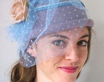 Purple Fascinator with veil sky blue, Cloé of Anglade creation