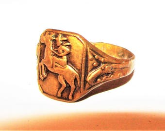 Old Cowboy Ring 1940s or 50s Adjustable Metal Ring, Great Western Collectible