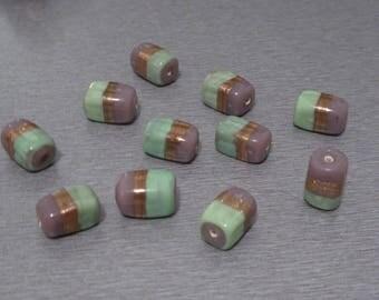 4 beads artisanal lampworks rectangles 15x10mm