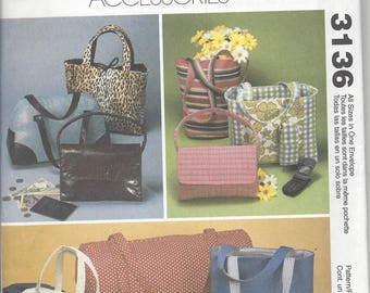 McCall's 3136 Fashion Accessories  pattern OOP 8 bags