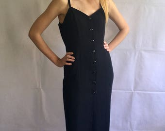 90s Vintage Black Strap Buttons Up Black Maxi Dress