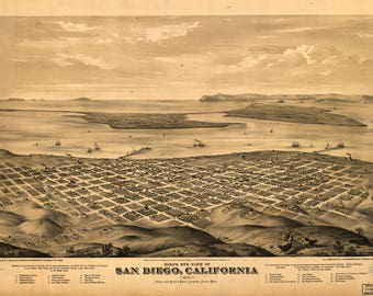 San Diego CA Panoramic Map dated 1876. This print is a wonderful wall decoration for Den, Office, Man Cave or any wall.