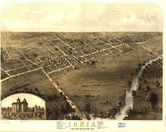 Ionia MI Panoramic Map dated 1868. This print is a wonderful wall decoration for Den, Office, Man Cave or any wall.