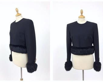 GIANFRANCO FERRÈ authentic vintage 1980s black fur blouse jacket - size S/M