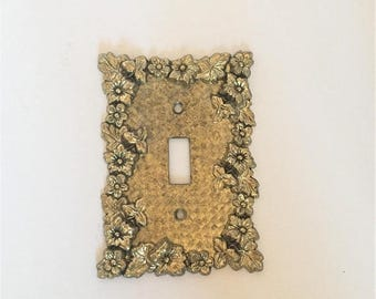 ON SALE vintage metal light switch cover ornate brass light switchplate vintage 1970s floral brass lightswitch cover decorative brass light