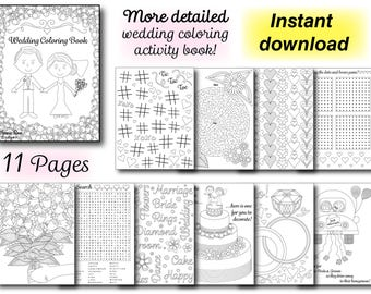 More Detailed Wedding Coloring Activity Book Reception PDF Printable