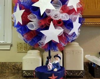 Patriotic Topiary, Patriotic Centerpiece, July 4th Topiaty, Uncle Sam Topiary, Uncle Sam Centerpiece, July 4th Centerpiece, Patriotic Decor