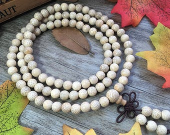 108 6mm Natural Bamboo White Wood Necklace Meditation Prayer Beads Japa Mala Buddha Bracelet