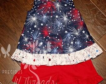 Baby Girls Patriotic Ruffle Pinafore- Toddler Girls Pinafore- Ruffle Bottom Bloomer- Ruffle Shorts- 3-6m, 6- 12m, 12-18m, 18-24m, 2t, 3t