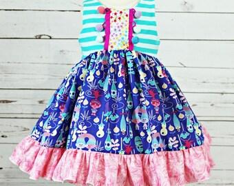 Girls Troll Dress- Toddler Girls Troll Dress- Troll Birthday Dress- Birthday Trolls Dress-  Trolls Dress- 12m, 18m, 2, 3, 4, 5, 6, 7, 8