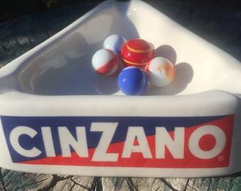 Vintage Cinzano ceramic glass dish Torino   Italy 1980 ash tray trinket dish