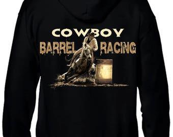 Black sweatshirt with zip. Barrel racing pattern