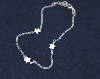 Sterling Silver Anklet, Three Star Silver Anklet, Silver Star Anklet, Star Charm Anklet, Silver Star Anklet, Beach Jewelry, Celestial Anklet