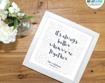 Jack Johnson Better Together Lyrics Inspired Personalised Print - With OWN LINE and personal text  - Wedding or Anniversary Gift