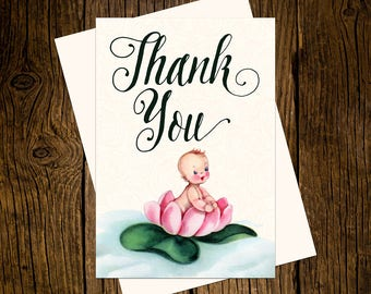 Lotus Flower Baby Thank You Note Cards Custom Printed Handmade Stationery Set of 12 Pink Blue Vintage Ecru