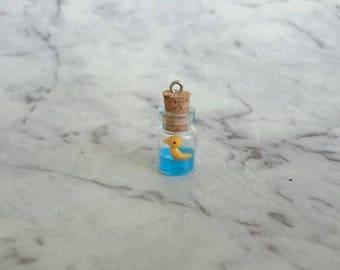 Duck in a miniature bottle. Rubber duck in jar.