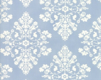 2 and 1/2 yards Lily & Will Baby Boy Blue Cottontail Toile by Bunny Hill of Moda Fabrics #2802 subtle soft blue and white/cream damask