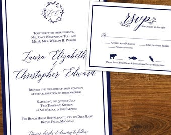 Traditional with a Twist, Printable Wedding Stationery Set, includes Invitation and RSVP Card,