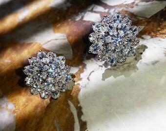 Art Deco Crystal Wedding Stud Earrings, FLOURISHING EMPRESS Simulated Diamond Bridal Earrings, Vintage Earrings, Luxury Bridal Earrings