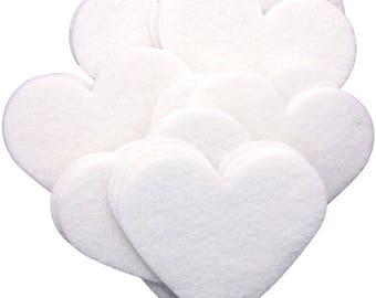 White Stiff Felt 3 Inch Hearts (22pc)