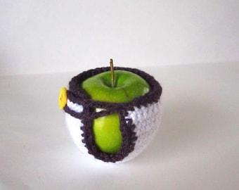 Apple Cozy - Crochet Fruit Jacket - Handmade Fruit Cozy - Teacher Gift - Apple Jacket - Fruit Pouch - Back to School Gift - Apple Cosy