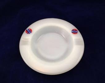 Vintage White Milk Glass Advertising Ashtray for Fairway Foods 5 1/4 Round 2 Slot New Condition      01430