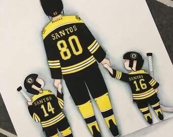 Sports nursery decor. Boston Bruins hockey decor. Hockey Nursery Wall Art. Father and Son 8x10 watercolor. Father's Day gift.