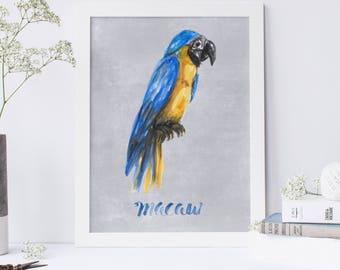 Tropical Bird Print, Parrot Wall Art, Printable Poster, Parrot Download, Macaw Poster, Macaw Parrot, Nursery Decor, Aqua Blue and Yellow
